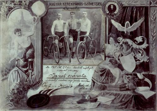 Bajnok kerékpár csapat díszoklevele