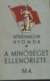 Athenaeum nyomda ellenőrző cédula