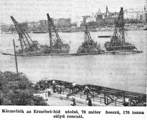 Erzsébet híd roncskiemelés