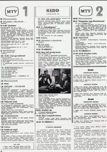 Rtv újság televízió műsor 1982.01.19