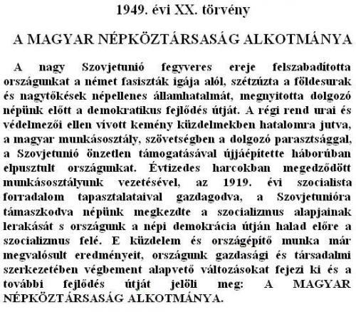 Alkotmány preambuluma 1949-1972