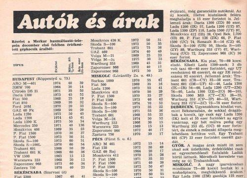 Autó árak 1977