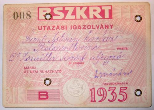 BSZKRT Utazási Igazolvány 1935