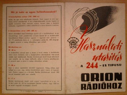Orion rádió használati utasítás 244