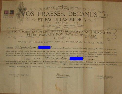 """Gyógyszerész diploma - oklevél """"akkor és most"""""""