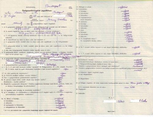 Gyógyszertári vizsgálati jegyzőkönyv 1941