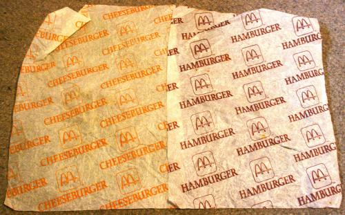 Mc Donald's szendvics csomagoló