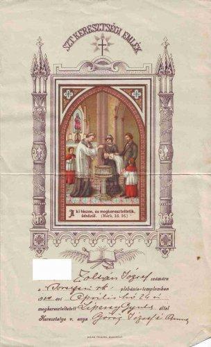Keresztlevél 1910