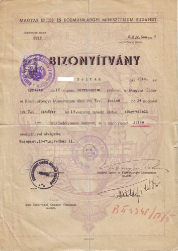 Könyvviteli bizonyítvány 1947