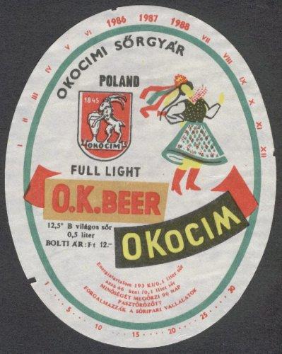 Táncos sörcímke Okocimi 1986