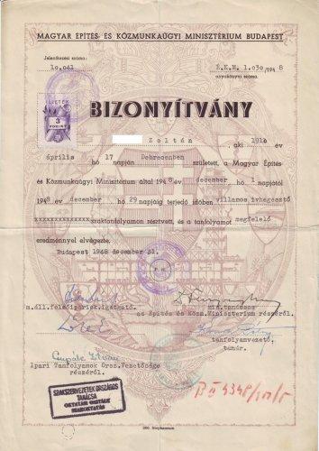 Villamos ívhegesztő bizonyítvány 1948