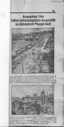 Margit híd újjáépítés utáni megnyitása