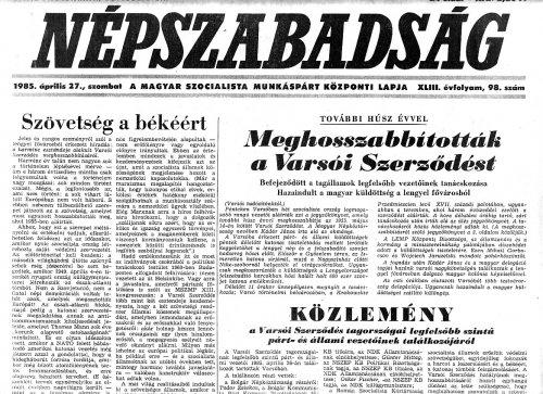Tudósitás a Varsói Szerződés meghosszabbitásáról