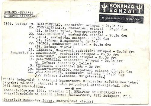 Bonanza Banzai turné körlevél