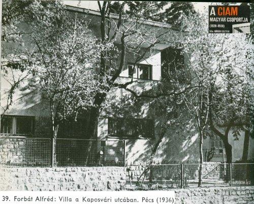 CIAM - Forbát Alfréd : villa a Kaposvári utcában  Pécs 1936