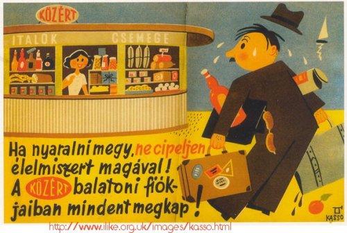 Kassowitz képeslap Balaton Közért reklám