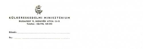 A Külkereskedelmi Minisztérium levélpapírjának fejléce