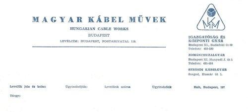 A Magyar Kábelművek céges levélpapírjának fejléce