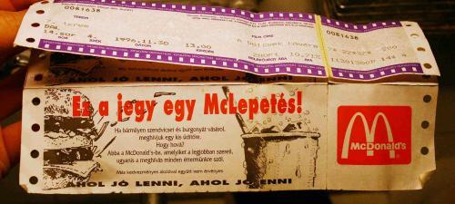 Mozijegy, Mc Donald's kupon