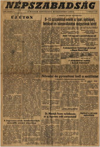 NÉPSZABADSÁG, 1956. november 11! (1.oldal)