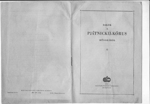 Dalok a Pjátnickij kórus müsorából