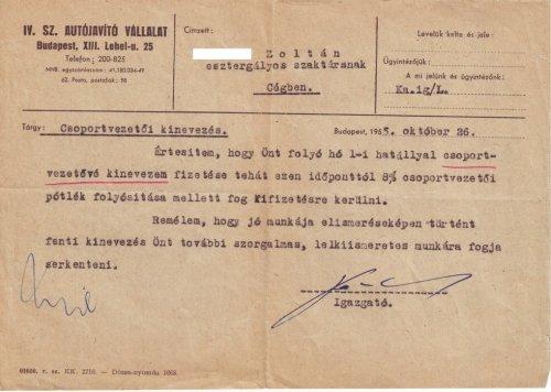 Autójavító csoportvezető kinevezés 1955