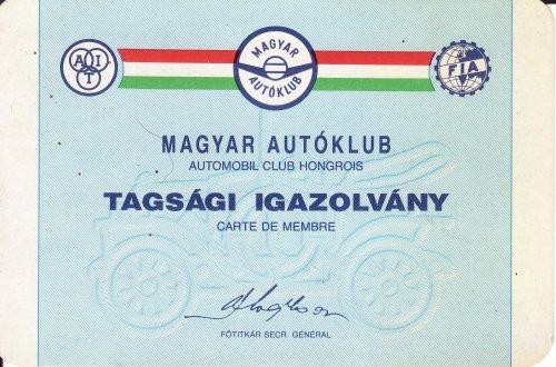 Autóklub tagsági igazolvány
