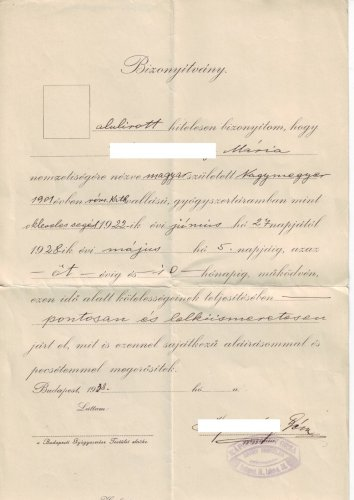 Gyógyszerészsegéd igazolás 1938
