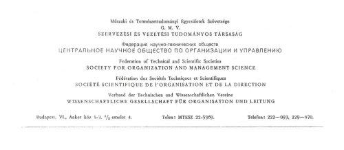 A Szervezési és Vezetési Tudományos Társaság levélpapírjának fejléce
