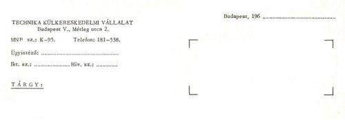A Technika Külkereskedelmi Vállalat céges levélpapírjának fejléce