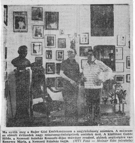 Bajor Gizi emlékmúzeum megnyitása